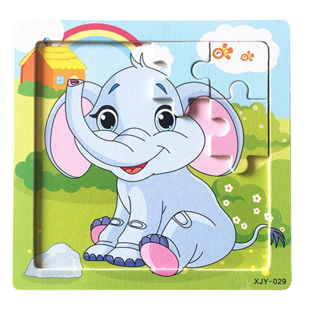 Gbell キュートな木製動物&乗り物ジグソーパズルセット 14.8×14.8×0.5cm カラフルなジグソーボード 教育玩具 3~8歳の女の子 男の子 キッズ B07GJ2CQXR A A
