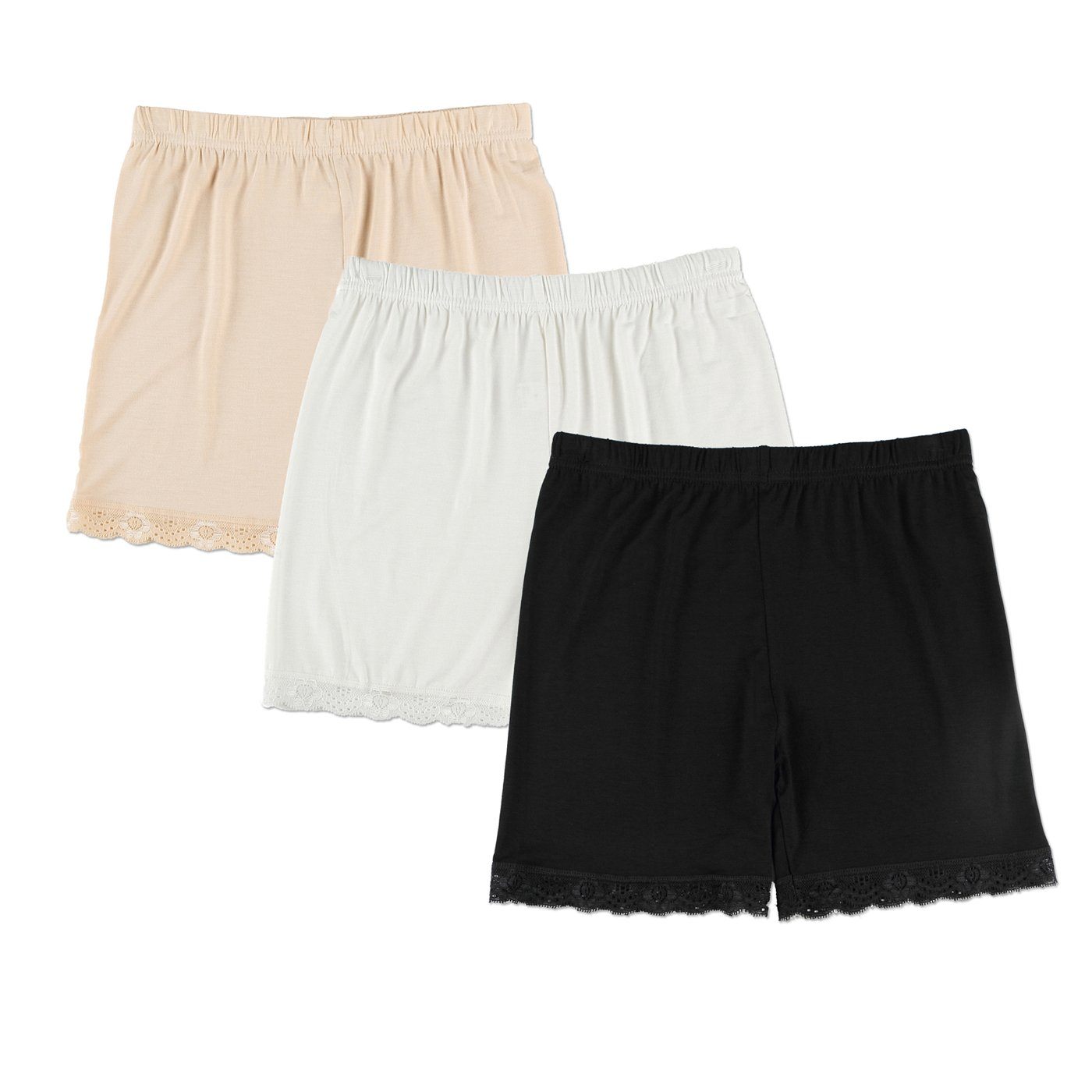 Liang Rou Women's Ultra Thin Stretch Short Leggings Lace Trim Black/ Apricot/ White L Large 3-pack: Lace Trim Black/White/Apricot