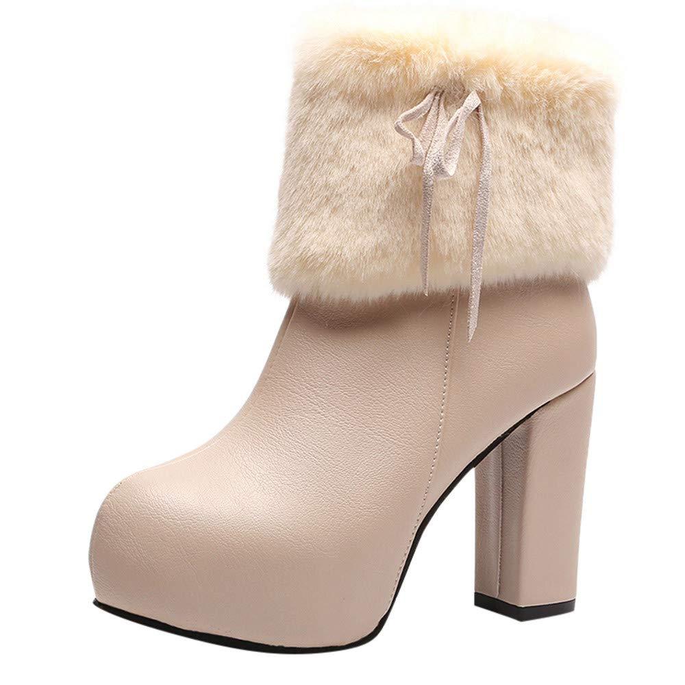 Zapatos Invierno Mujer,Mujer Botas Mujer Impermeable Plataforma Botas Zapatos Invierno Calientes Medio Planos Ancho tacó n Moda Calzado Botines QINGXIA_ZI