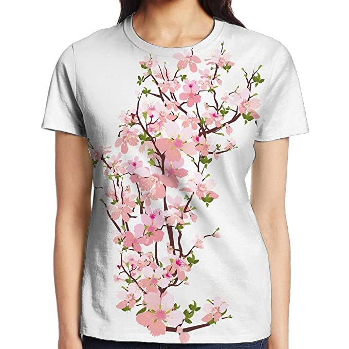 f307596f6b3 Amazon.com  HVKZLL Spring Tree Branch Lady T-Shirt Full Side Print Short  Sleeved Sportswear  Clothing