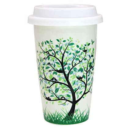 Amazoncom 12 Oz Coffee Cup Simple Trees Double Insulated Ceramic