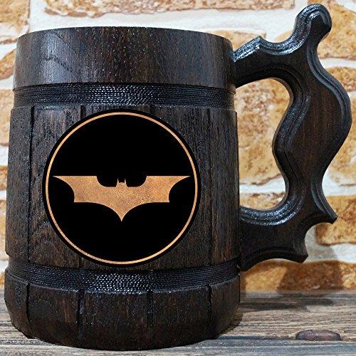 Batman Beer Mug, Arkham Asylum Wooden Beer Stein, Gamer Gift, Personalized Beer Stein, Dark Knight Tankard, Custom Gift for Men, Gift for Him