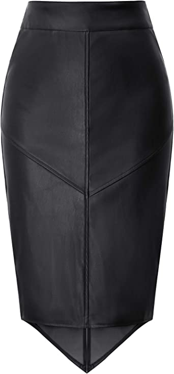 GRACE KARIN Falda Mujer Cintura Alta Falda Tubo Cuero Elegante ...