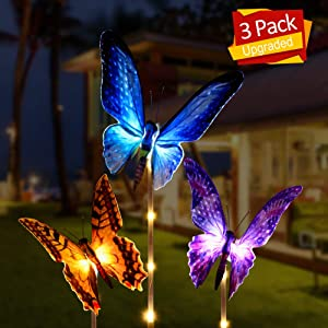 Aockis Outdoor Solar Garden Lights - 3 Pack Solar Stake Light with Fiber Optic Butterfly Decorative Lights,Multi-Color Changing LED Solar Lights