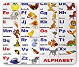 Ambesonne Educational Mouse Pad, Animals Placed on Letter of the Alphabet Teacher's Chart Classroom Kindergarten, Standard Size Rectangle Non-Slip Rubber Mousepad, Multicolor