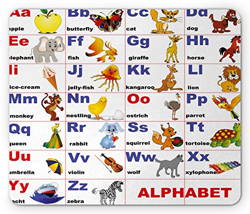 Ambesonne Educational Mouse Pad, Animals Placed on Letter of the Alphabet Teacher's Chart Classroom Kindergarten, Standard Size Rectangle Non-Slip Rubber Mousepad, Multicolor by Ambesonne