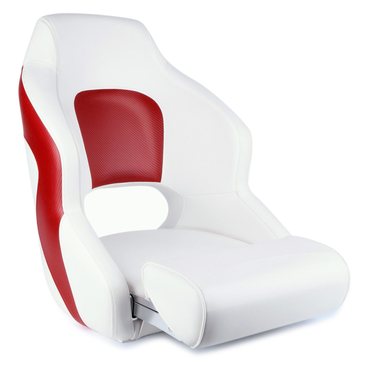 Leader Accessories Two Tone Captain's Bucket Seat Premium Sports Flip Up Boat Seat (White/Red)