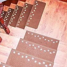 Staron Night Luminous Staircase Mats, 55 x 22cm Anti-Skid Soft Stair Carpet Pad Safe Treads Rugs Home Decor (Coffee)