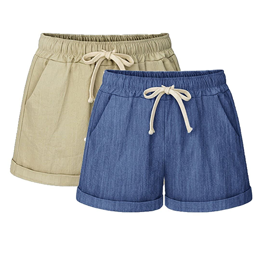 Vcansion Womens Elastic Waist Cotton Linen Beach Shorts with Drawstring Plus Size Casual Shorts