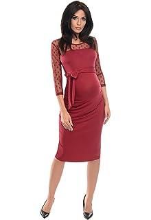 Purpless Maternity Vestido de Embarazo de Encaje Bodycon D008