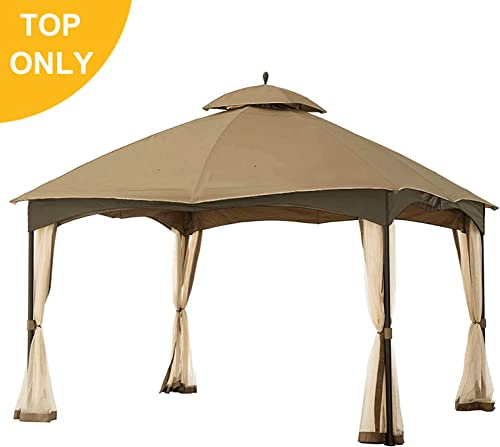 MasterCanopy Gazebo 12 x 10 Cabin-Style Soft Top Gazebo Roof for Model L-GZ933PS Brown