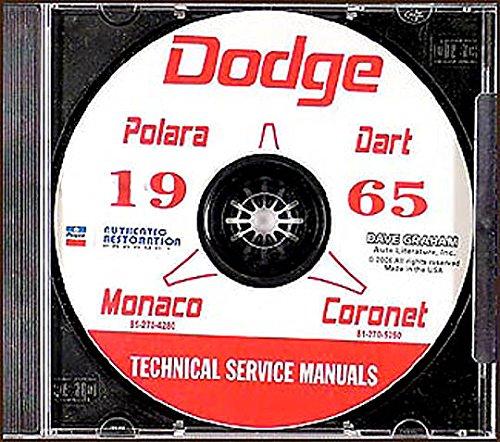 1965 Dodge Car CD Repair Shop Manual Coronet Dart Polara Monaco Custom 880 65