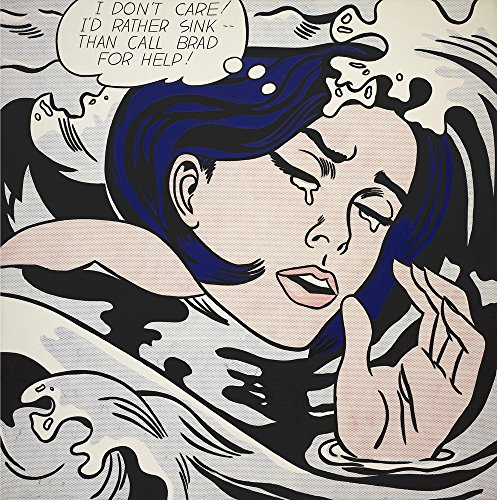 Berkin Arts Roy Lichtenstein Giclee Canvas Print Paintings Poster Reproduction (Drowning (Drowning Girl)