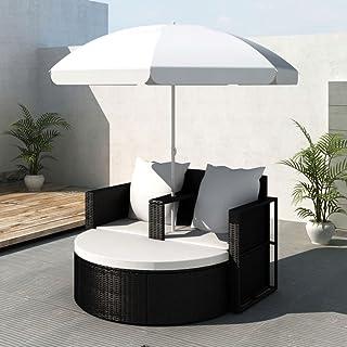 Zora Walter UV ndige Jardín Lounge (ratán sintético Jardín Negro Colcha Cama con Wei?Er sombrilla