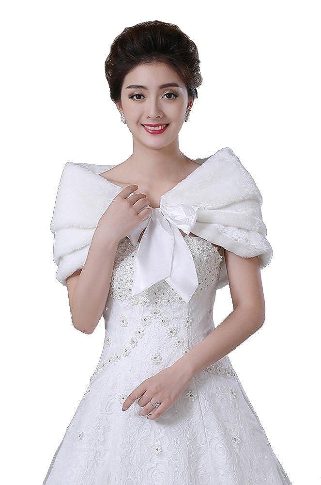 XYX scialle di nozze scialle pelliccia ecologica wrap matrimonio scrollata di spalle di nozze scialle da sposa mantellina 7869