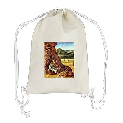 Jerome In The Desert (Bellini) Cotton Canvas Backpack Drawstring Bag Sack