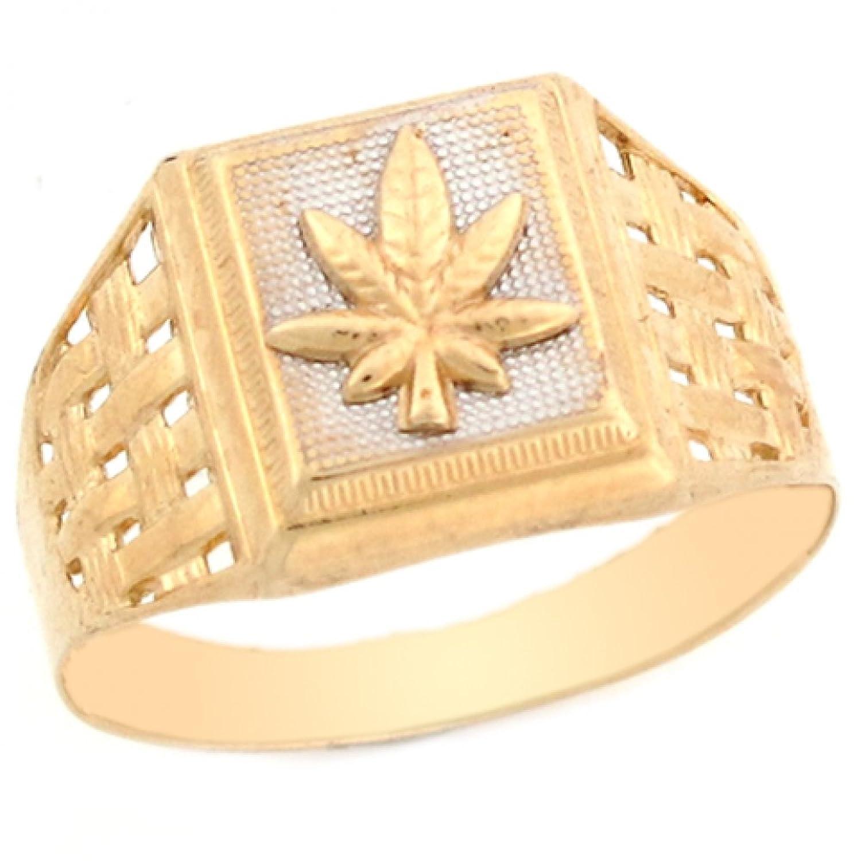 14k Two Tone Real Gold Marijuana Leaf Fancy Mens Ring