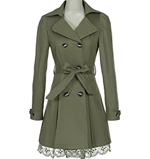 909c3ea5e42 FV RELAY Womens Double-Breasted Bowknot Long Trench Coat with Belt and Lace  Hem