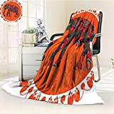 YOYI-HOME Digital Printing Duplex Printed Blanket Circus Indian Elephant Doodle in The Sun and Floral Design Accessories Orange Olive Red Summer Quilt Comforter /W47 x H79