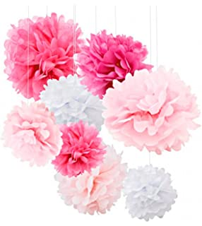 Amazon tissue paper pom pom paper flower ball for party 18pcs tissue paper flowers pink party decorations tissue paper pom poms for baby shower mightylinksfo