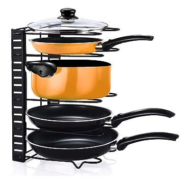 foccoe Pan Pot organizador de tapa plegable soporte, 5 pisos soporte ajustable de cocina para armario encimera de almacenamiento en cocina: Amazon.es: Hogar