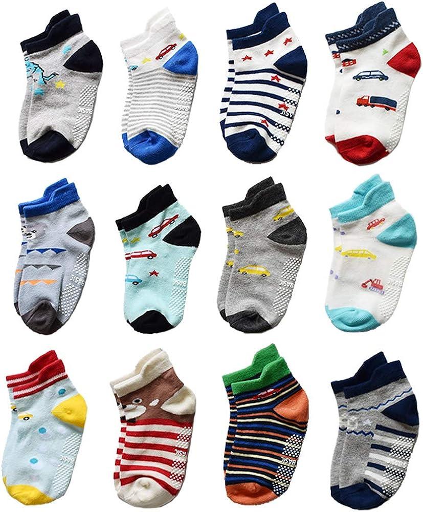 Yafane 12 pares de calcetines de algod/ón antideslizantes para ni/ños de 0 a 5 a/ños