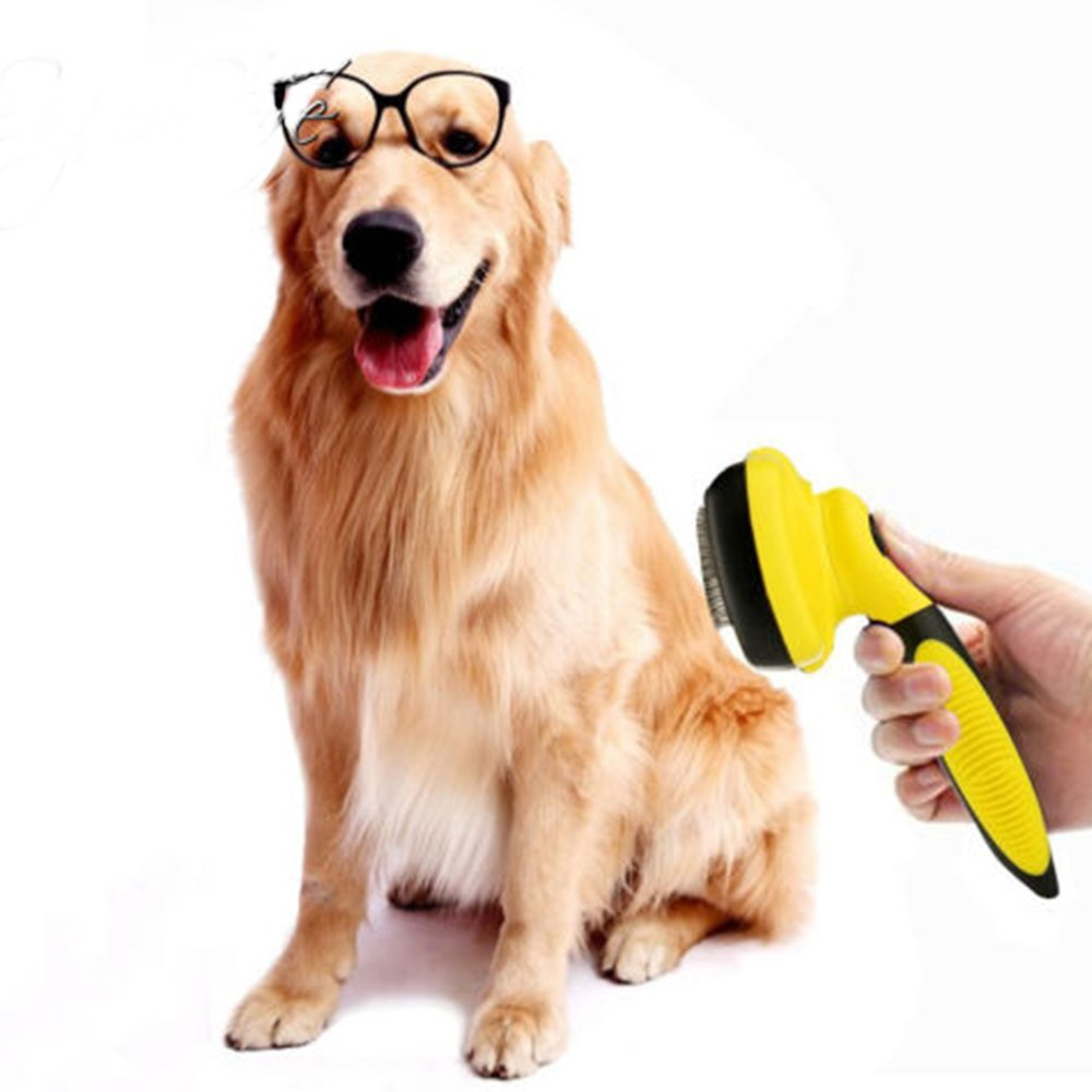 Self Cleaning Slicker Brush,Dog Cats Pet Grooming Brush Removes Matted and Long Thick Hair Effective and Comfortable Your Pet Will Love It,Yellow