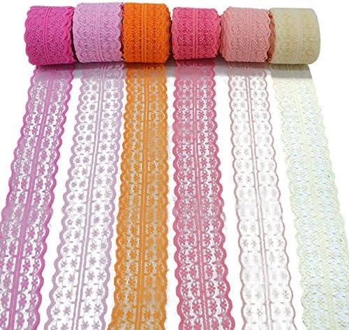 accesorios de boda regalo de regalo manualidades Lavender 45mm x10m 3 rollos de cinta de encaje floral el/ástica de encaje el/ástica para manualidades joyer/ía