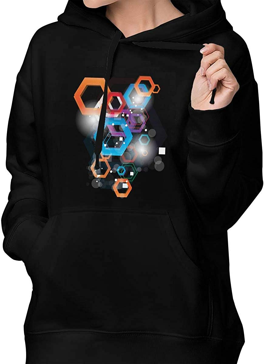 Pattern Classic Regular Pocket Sweatershirt Hoodie Sweater for Women L Black