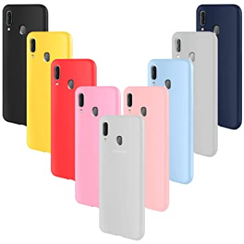 ivencase 9 × Funda Samsung Galaxy A20, Carcasa Fina TPU Flexible Cover para Samsung Galaxy A20 (Rosa Gris Rosa Claro Amarillo Rojo Azul Oscuro ...