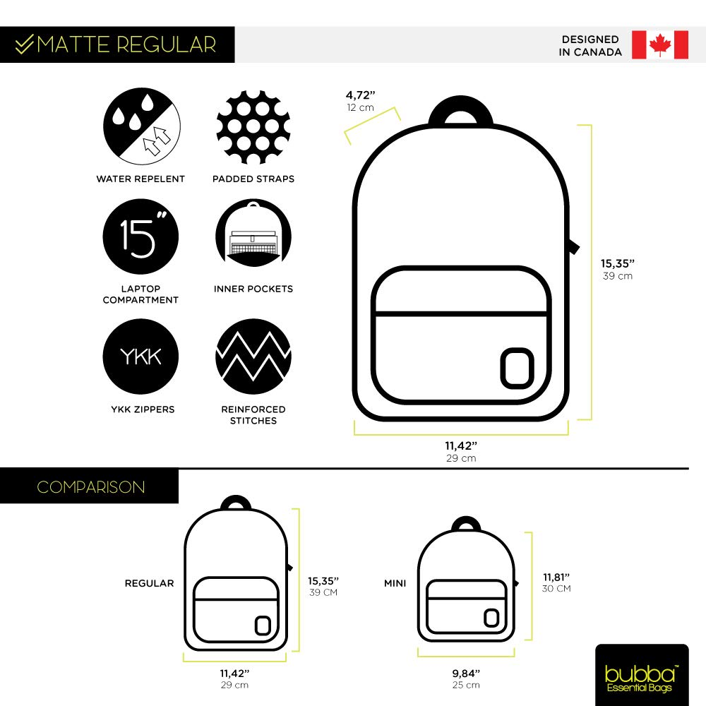 Amazon.com | Bubba Bags Canadian Design Backpack Matte Regular Cool Gray | Casual Daypacks