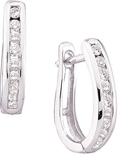 0.25 Ct Round Cut Natural Diamond Three Row Hoop Earrings Solid 10K White Gold