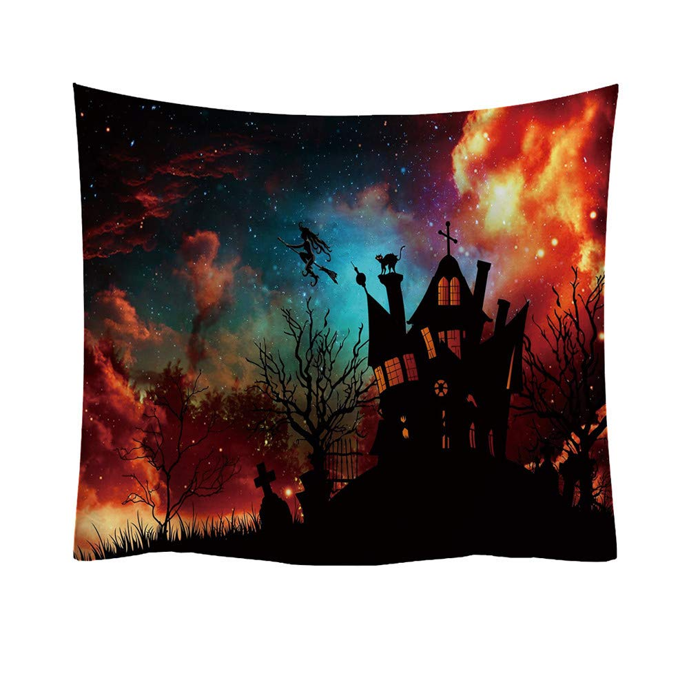 Halloween Tapestry,Lovewe Halloween Trick Or Treat Horror Wall Hanging Home Decor Accessories Blanket (A)