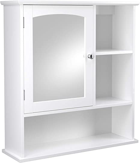 Vasagle Mirror Cabinet Bathroom Wall Storage Cabinet Medicine Cabinet With Adjustable Shelf And 3 Open Compartments 23 6 X 7 0 X 25 2 Inches Wooden White Ubbc23wt Kitchen Dining