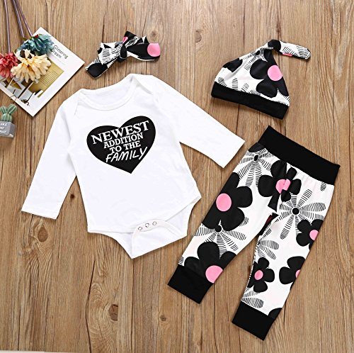 Von kilizo Newborn Baby Girl Cotton Tops Romper Pants Hat 4Pcs Outfits Set Clothes