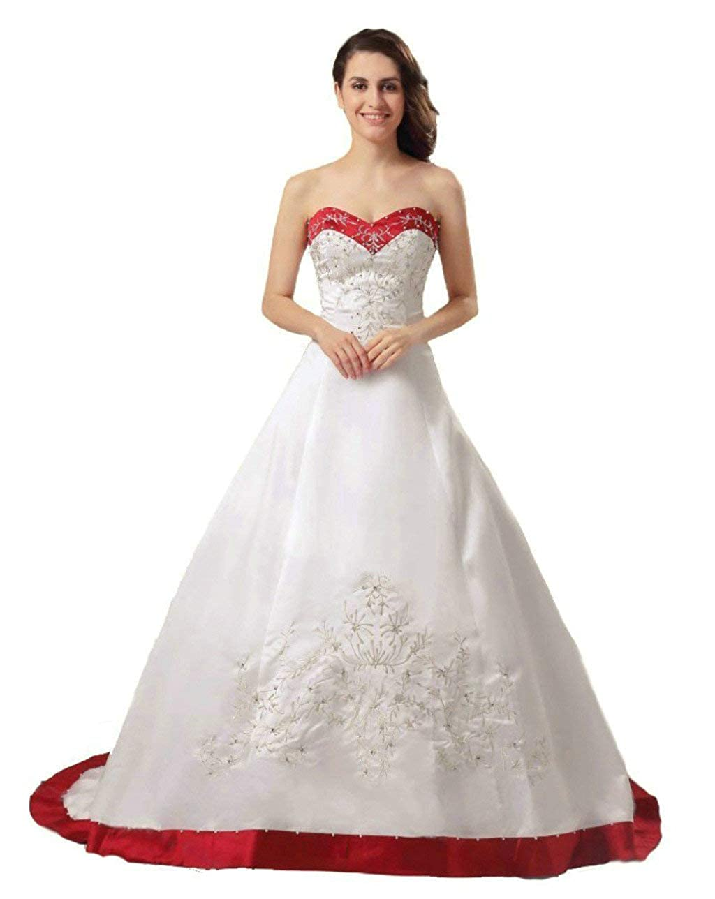 Ivory & Red Vantexi Women's Sweetheart Satin Aline Bridal Dress Wedding Gown