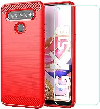 szjckj Funda para LG K51S + 1 x Protector de Pantalla, Case Cover Carcasa Bumper Clear Fibra de Carbono Cristal Vidrio Templado para LG K51S (6,55