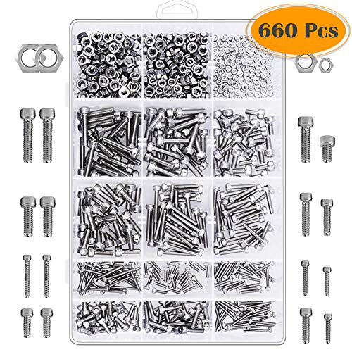 Anezus 660Pcs M2 M3 M4 Stainless Steel Hex Socket Head Cap Screws Nuts Assortment Kit with Storage Box for Laptop, Industrial, 3D Printer