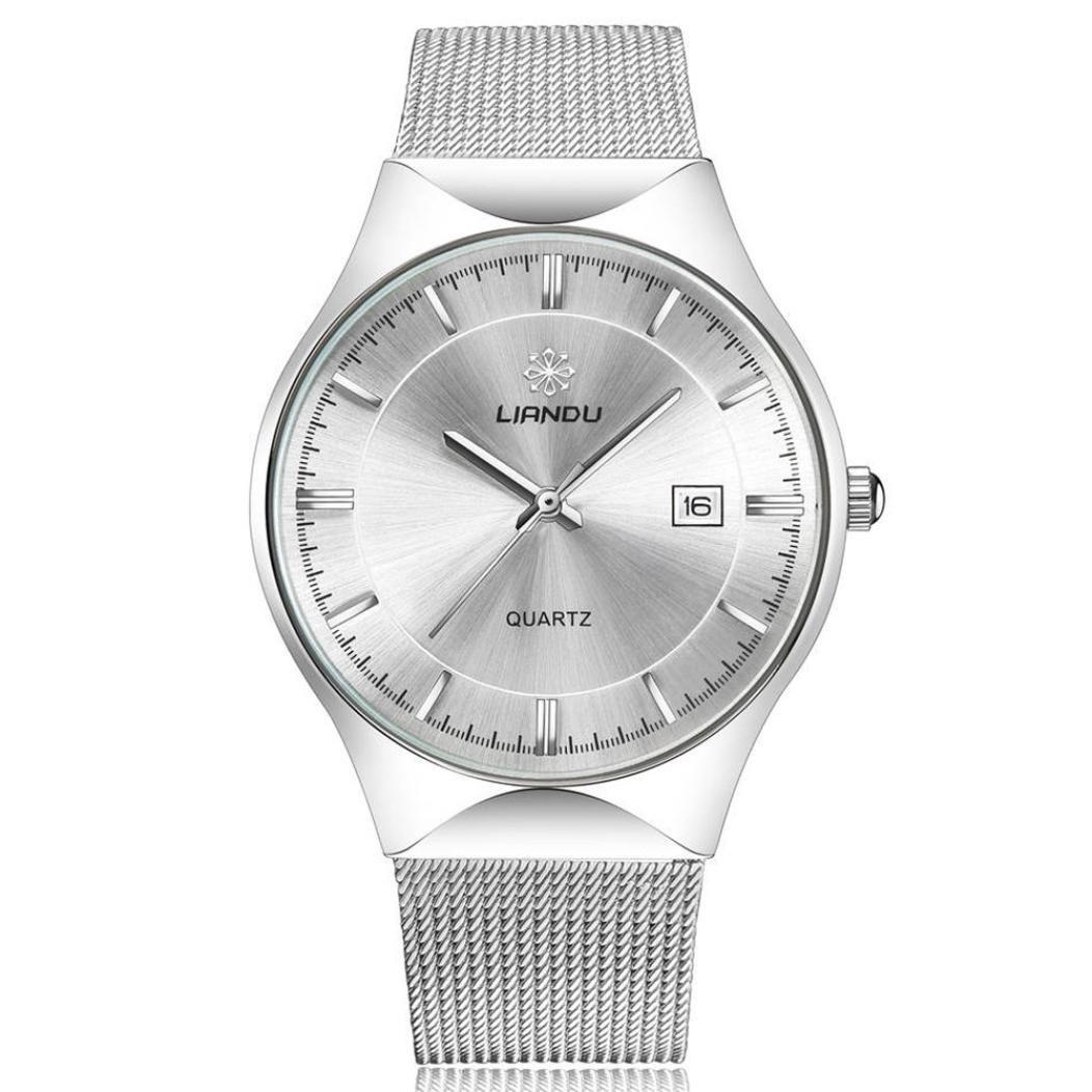 Mens Womens Dress Wrist Watch, Stainless Steel Band Analog Quartz Unique Business Casual Classic Design Calendar Date Window (White)