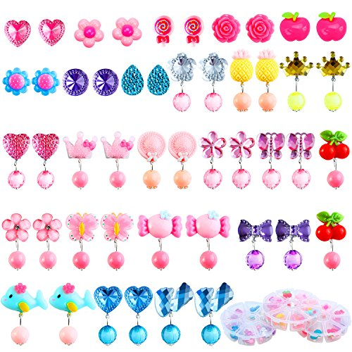 Aneco 24 Pairs Clip-on Crystal Earrings Girls Play Earrings Princess Clip on Earrings Set for Party Favor Packed in 3 Clear Boxes -