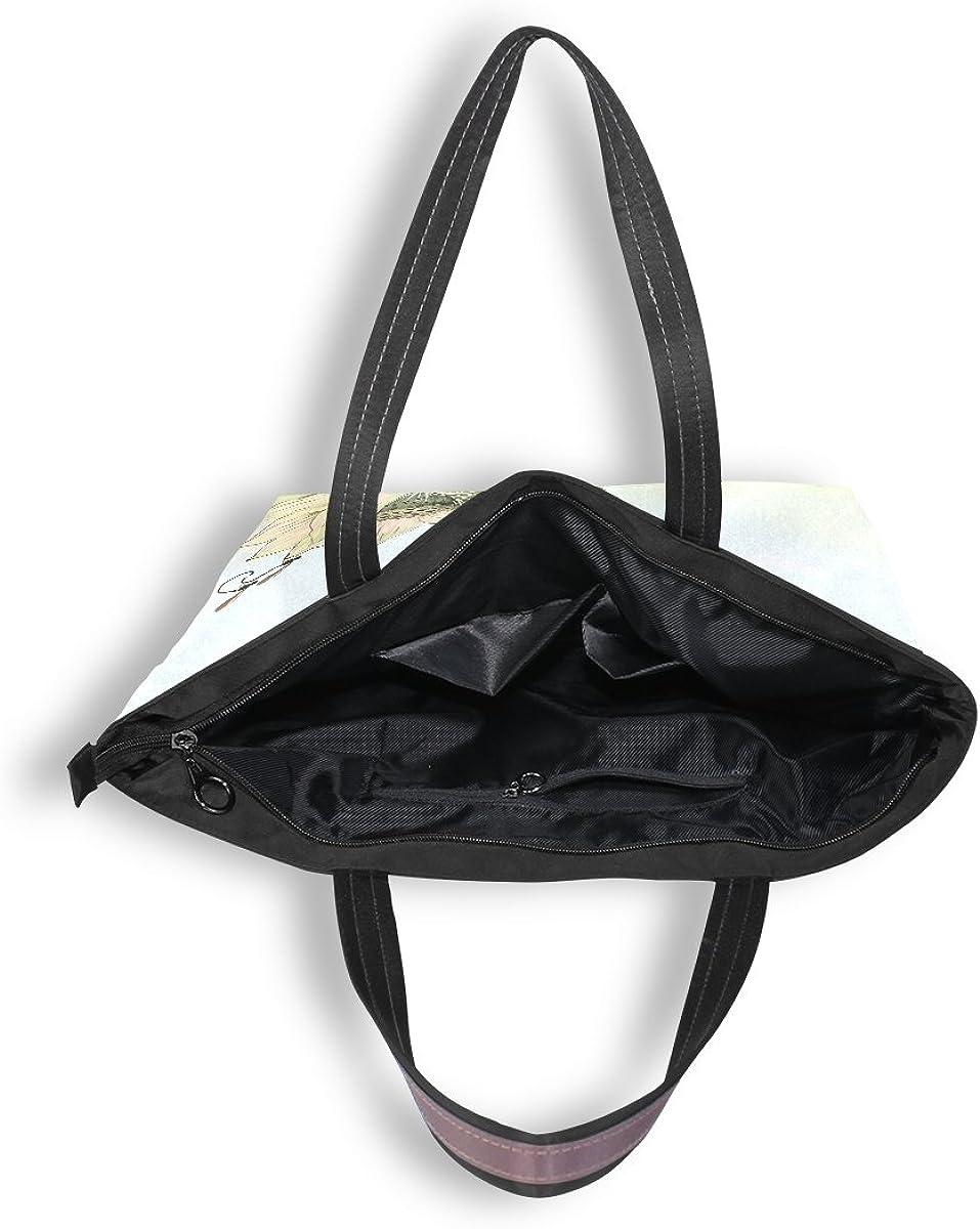 DEYYA Women Large Tote Bag Dragonfly Lotus Shoulder Handbags Satchel Messenger Bags for Ladies