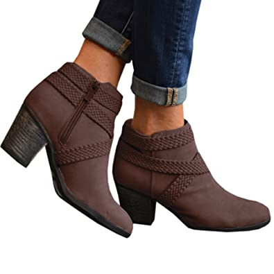Booties Women Ankle Heels Leather Platform High Heel Block Brown Gray Pointed Toe Western Boots