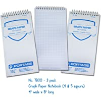 """Graph Paper Notebook 8"""" x 4"""" - Reversible 4/5 Square (3 Pack)"""