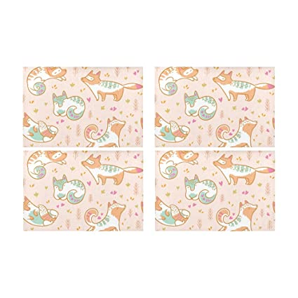 Gednix Fox Yoga Cute Funny Animal Kitchen Printed Stain Resistant Heat  Insulation Washable Square Table Mat 3532e0a50