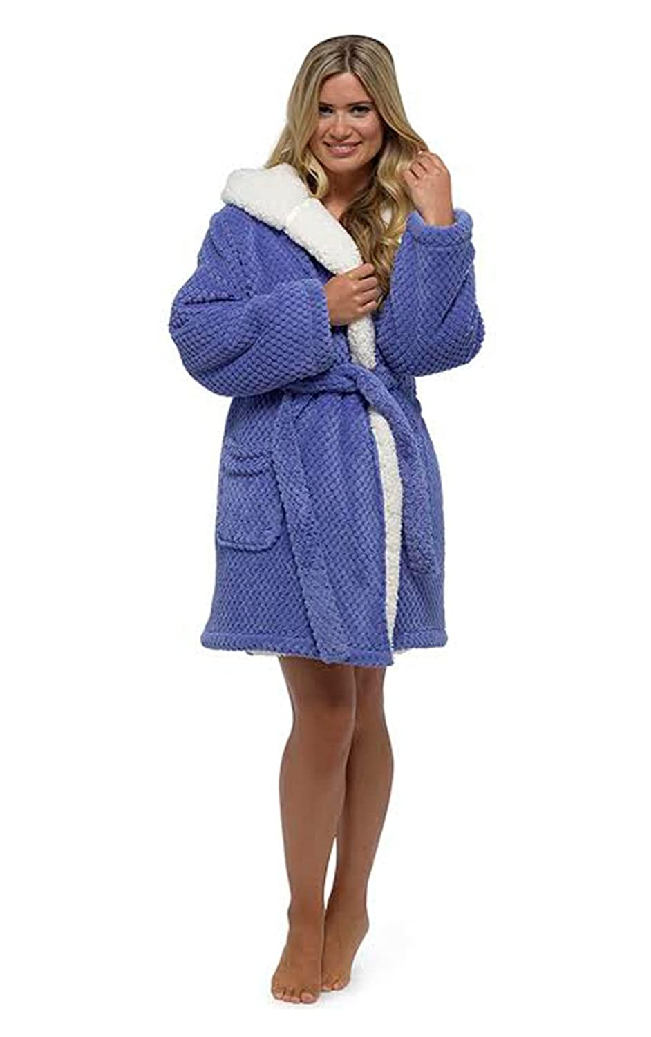 Ladies Womens Soft Feel Honeycomb Sherpa Hooded Gowns Robes Wraps Pink Lilac NEW