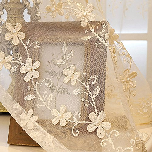 le Embroidery Floral Sheer Curtains with Pearls For Living Room Rod Pocket Voile Window Treatment Panels Drapery Lace Edge Tulle Curtains For French Door 1 Panel W39 x H63 Inch ()