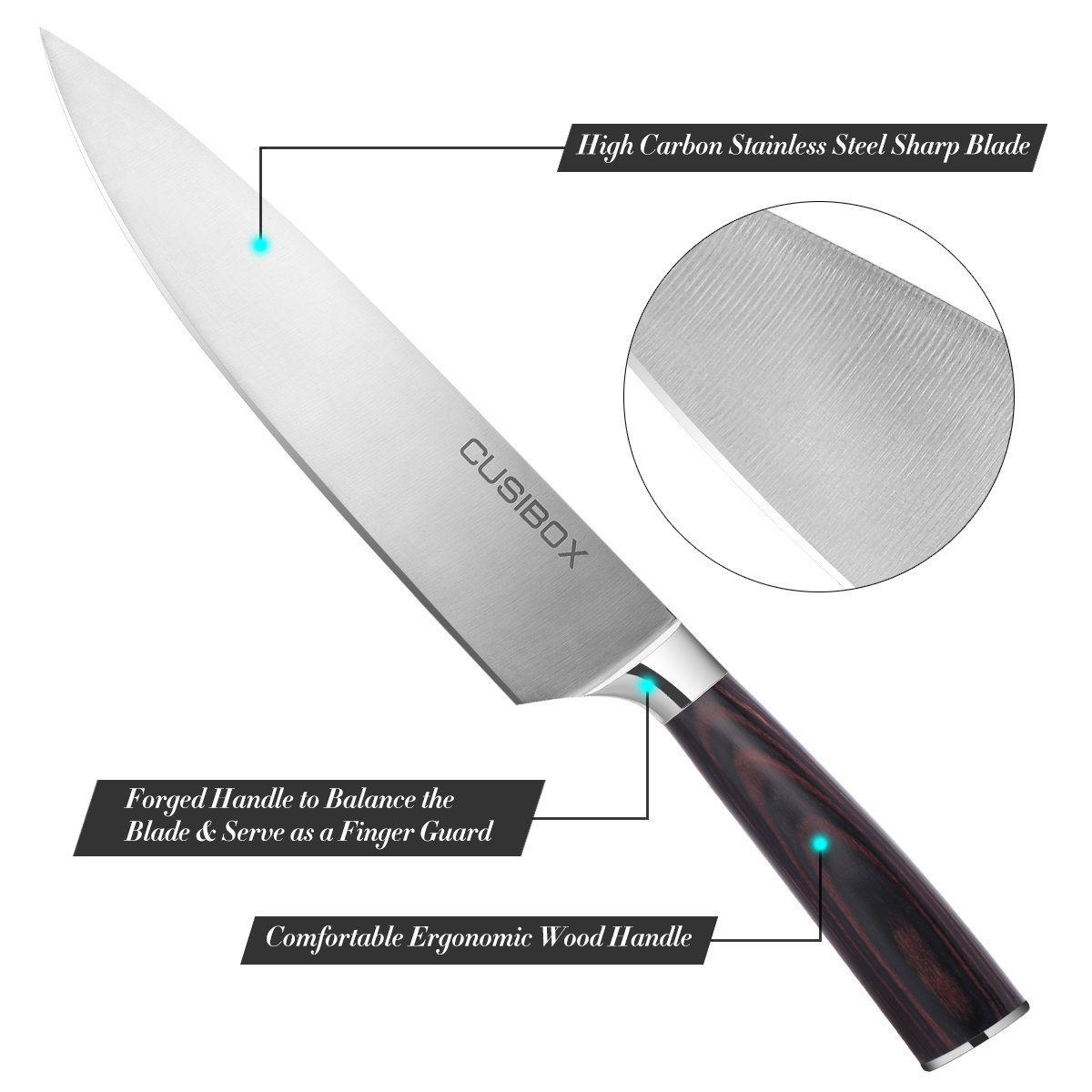 Chef Knife, CUSIBOX 8 inch Kitchen Knife with High Carbon Stainless Steel Razor Sharp Blade and Ergonomic Handle for Home and Restaurant