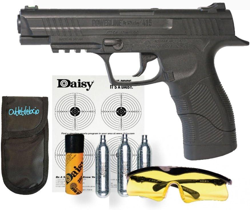 Outletdelocio. Pistola Perdigón Daisy 415 + Funda Portabombonas + Balines + Gafas + Bombonas co2. 64855/23054