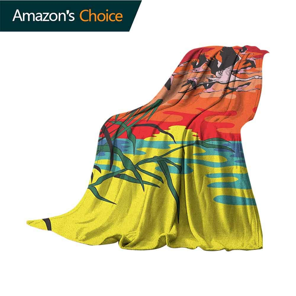 Flamingo pet Blanket,Flamingos Flying in The Air with Horizon Landscape Illustration Savannah Artwork Blanket for Sofa Couch TV Bed All Season,30'' Wx50 L Multicolor