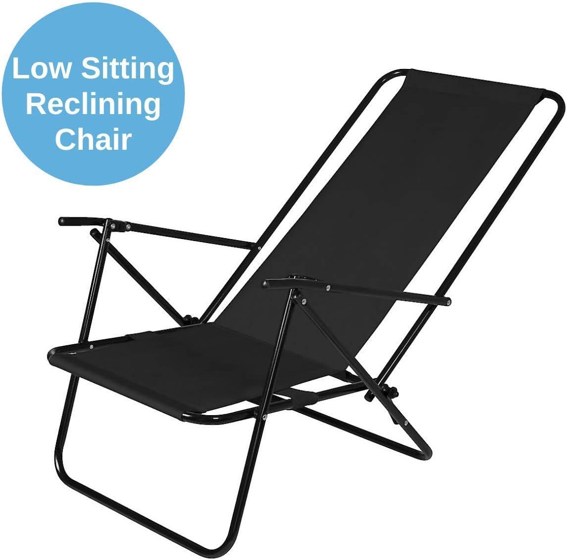 Beach Chair With Steel Frame Black Reclinable Garden Deck Chair Clas Ohlson Deck Chair Foldable Garden Outdoors Sunloungers Tennesseegreenac Com